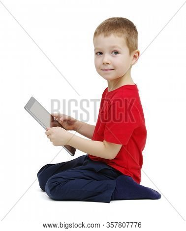 Boy using digital tablet isolated on white