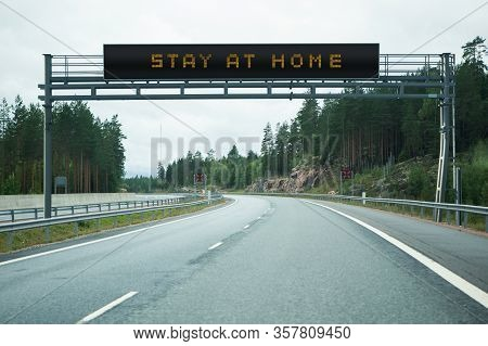 Highway With Information Board. Caption