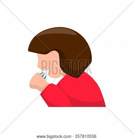 Woman Coughing In Hand, Colorful Vector Icon On White Background. Flu Or Cold Disease Spreading. Nov