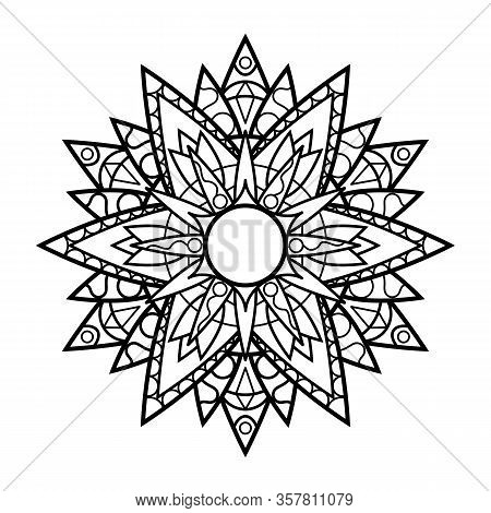 Black And White Vector Mandala On White Background. Relaxing Adult Coloring Page. Oriental Mandala O