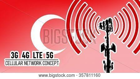 Cellular Mobile Network Tower Connection Concept For Turkey, Vector Illustration Of 3g 4g Lte 5g Har