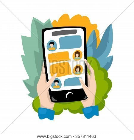 Hands Holding Smartphone With Chat App. Chatting Online On Smart Phone. Flat Vector Illustration On