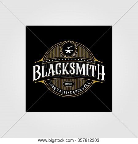 Vintage Blacksmith Forge Logo , Anvil Vector Illustration Design