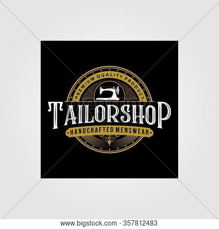 Tailor Shop Vintage Logo Premium Vector Tattoo Typography Design