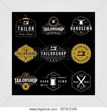 Set Of Vintage Tailor Shop Sewn Logo On Dark Background Vector Hand Made Illustration