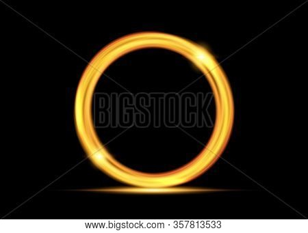 Vector Magic Gold Circle. Glowing Fire Ring Trace. Golden Swirl Trail Effect On Black Background. Br