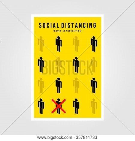 Minimalist Social Distancing Flat Icon Vector Poster Illustration Design
