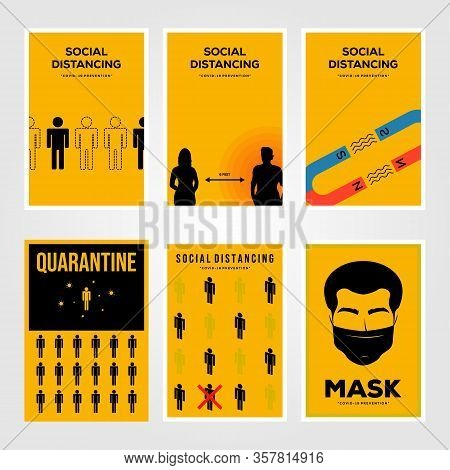 Set Of Social Distancing Viruses Prevention And Quarantine Isolation Minimalist Poster Illustration