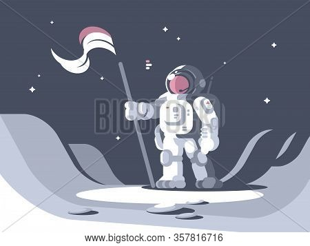 Astronaut Character In Spacesuit On Surface Of