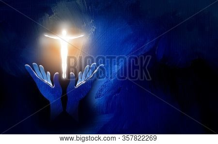 Graphic Conceptual Illustration Of Worshipping Hands And Glowing Human Form In Shape Of The Christia