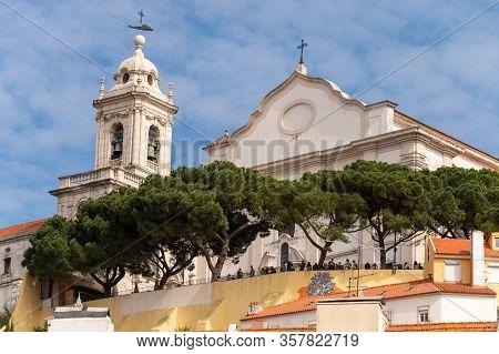 Lisbon, Portugal 8 March 2020: Convento De Nossa Senhora Da Graca & Miradouro Da Graca