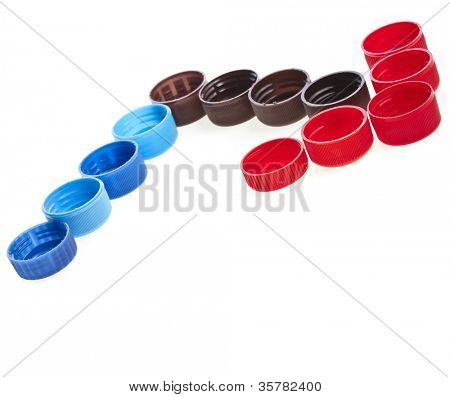 Colorful plastic bottle cups  isolated on white