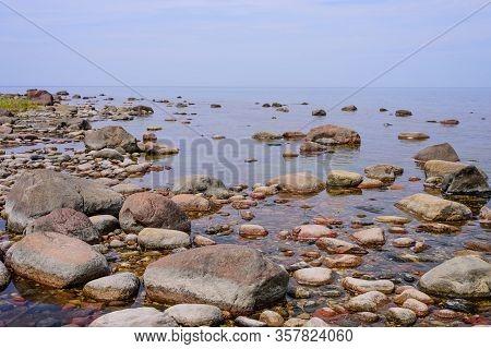 Picturesque Coast Of Baltic Sea With Boulders, Saaremaa Island, Estonia