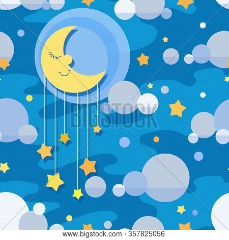 Cartoon Background. Night Sky. Sleeping Month, Stars And Clouds. Vector Seamless Pattern On Blue. De