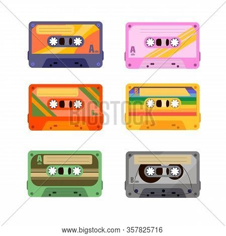 90 S Disco Dance Audio Cassette, Player Record Tape. Seamless Pattern With A Retro Tape Cassette.