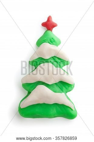 Isolated Plasticine Christmass Tree With Snow On The White