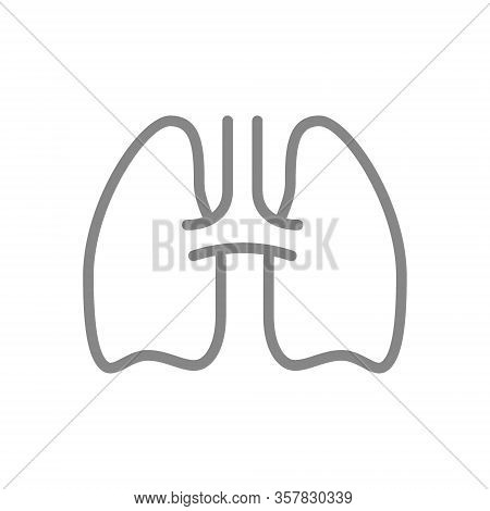 Human Lungs Line Icon. Healthy Internal Organ Symbol