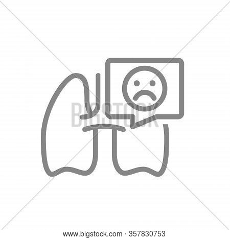 Lungs With Sad Face In Speech Bubble Line Icon. Diseases Internal Organ, Pulmonary Edema, Pneumonia