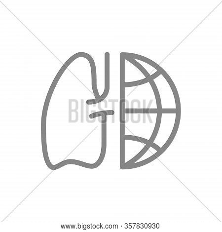 Lungs With Planet Line Icon. Chronic Obstructive Pulmonary Disease Day, World Lung Day Symbol