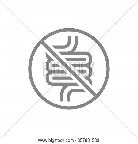 Forbidden Sign With A Intestine Line Icon. Amputation Internal Organ, No Intestine, Transplant Rejec