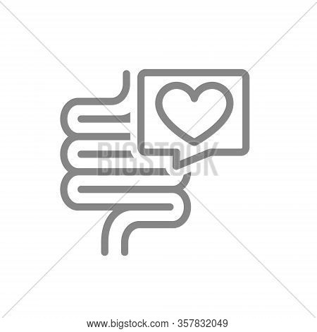 Intestine With Heart In Speech Bubble Line Icon. Healthy Internal Organ, Digestive Tract Symbol