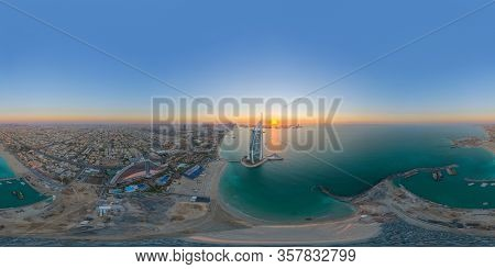 360 Panorama By 180 Degrees Angle Seamless Panorama Of Aerial View Of Burj Al Arab Jumeirah Island O