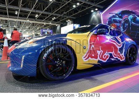 Dubai, Uae - November 16: The Red Bull Nissan Z370  Sportscar Is On Dubai Motor Show 2019 On Novembe