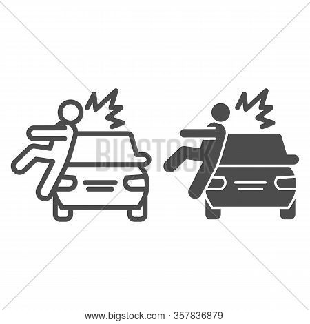 Collision With Pedestrian Line And Solid Icon. Vehicle Knock Down Man With Smash Symbol, Outline Sty