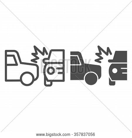 Two Automobile Road Crash Line And Solid Icon. Frontal Or Side Driving Collision Symbol, Outline Sty
