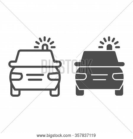 Police Car Line And Solid Icon. Cop Automobile With Rooftop Flashing Lights Symbol, Outline Style Pi