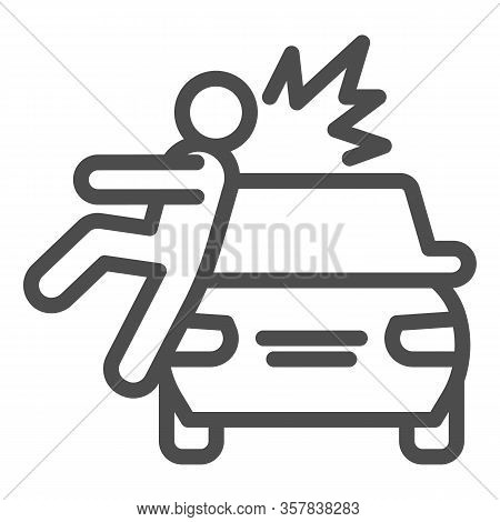 Collision With Pedestrian Line Icon. Vehicle Knock Down Man With Smash Symbol, Outline Style Pictogr