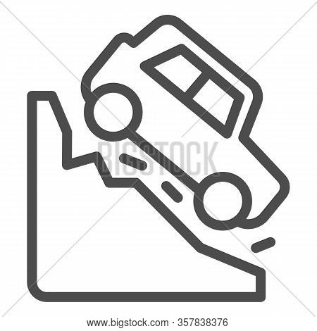 Steep Descent Line Icon. Auto Coming From Incline Mountain Downwards Symbol, Outline Style Pictogram