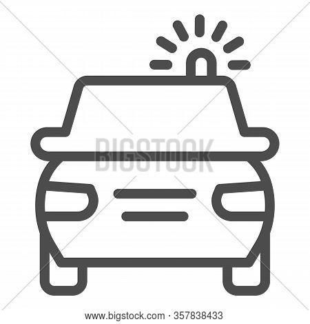 Police Car Line Icon. Cop Automobile With Rooftop Flashing Lights Symbol, Outline Style Pictogram On