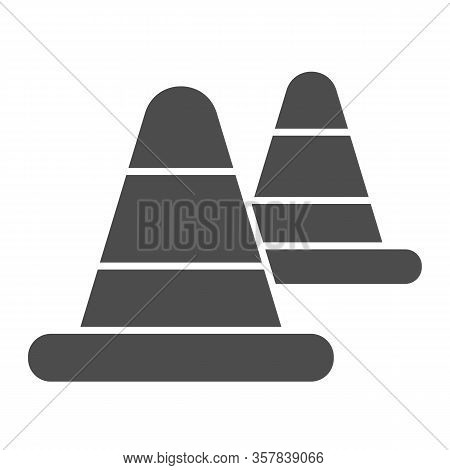 Roadblock Warning Cone Solid Icon. Traffic And Road Protection Cap Symbol, Glyph Style Pictogram On
