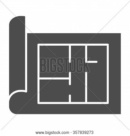 Building Project Solid Icon. House Blueprint Paper Or Home Plan Page Symbol, Glyph Style Pictogram O
