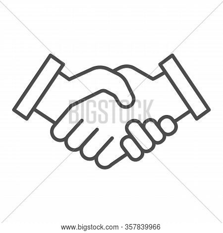 Mans Handshake Thin Line Icon. Business Shake, Deal Agreement Symbol, Outline Style Pictogram On Whi