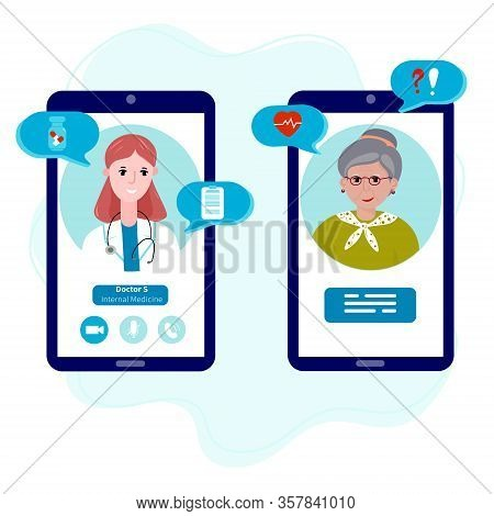 Doctor With Old Patient Meet Online. Online Healthcare For Senior. Mobile Appointment Woman With Doc