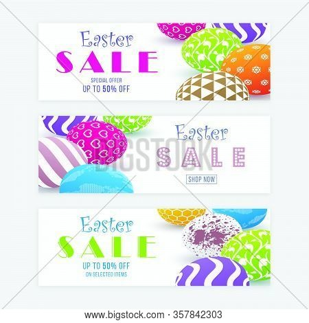 Easter Sale Banner Templates With Three Dimensional Patterned Eggs. Colorful Easter Banner Design.
