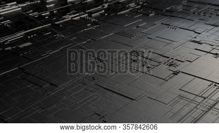 Perspective View Of Highly Detailed Scifi Futuristic Pattern Background Resembling Circuit Board Or