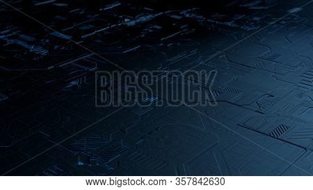 Perspective View Closeup 3d Illustration Concept Of Blue Toned Highly Detailed Scifi Futuristic Patt