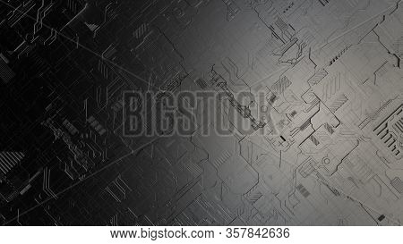 Top View Closeup 3d Illustration Concept Of Dark Grey Highly Detailed Scifi Futuristic Pattern Backg