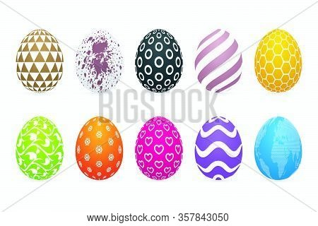 Colorful Easter Eggs On White Background. Three Dimensional Patterned Egg Icon Set.