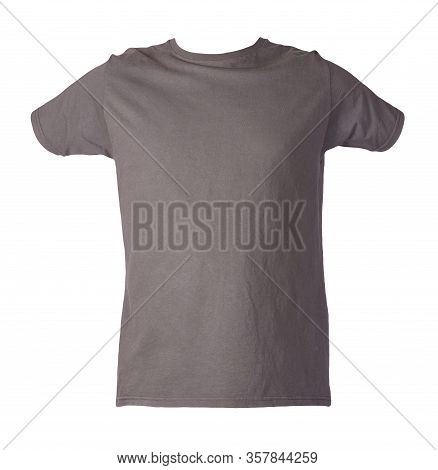 Graphite T-shirt Isolated On A White Background. Summer Cotton Short Sleeve T-shirt