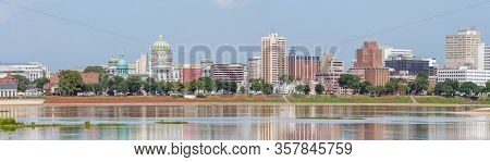 Harrisburg Panorama With State Capitol Complex And Susquehanna River, The Capital Of Pennsylvania, U