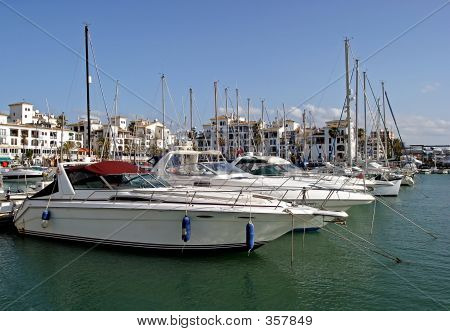 Yaughts In Duquesa Marina Harbour Or Port In Southern Spain
