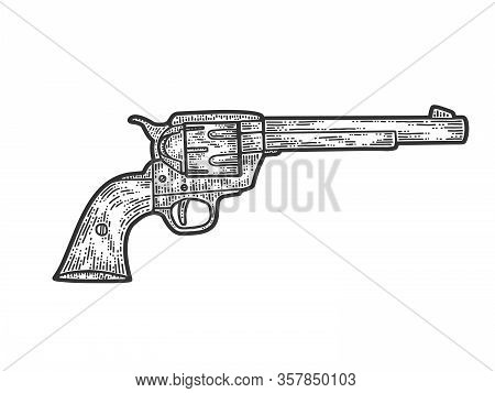 Colt Revolver, Cowboy Gun. Apparel Print Design. Scratch Board Imitation. Black And White Hand Drawn
