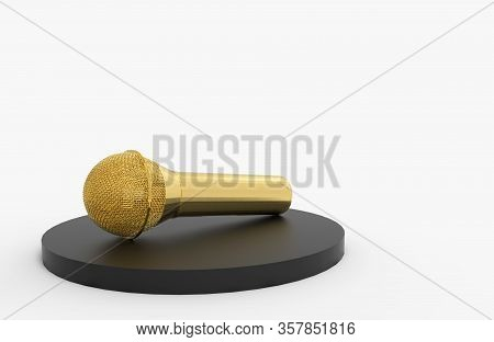 3d Rendering. A Golden Microphone On Black Podiumwith Copy Gray Space Asy Background.