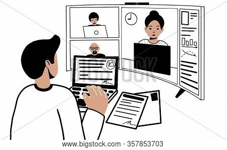 Quarantine Video Conference. Coworking Online. New Technologies For Business Companies. A Group Of P