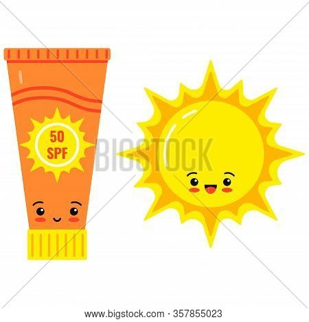 Emoji Sunscreen Bottle And Cute Sun Vector Icon Isolated On White Background. Flat Design Cartoon St