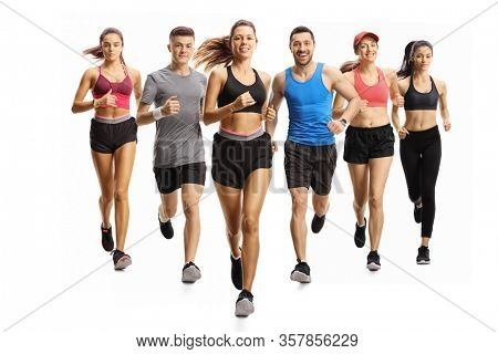 Young male and female runners running towards camera isolated on white background